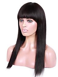 14-18inch braizlian remy vierge yaki de cheveux humains droite avec Bang complet perruques dentelle glueless avant pour les