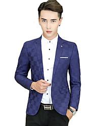 Masculino Blazer Casual / Escritório / Formal Cor Solida Manga Comprida Algodão Preto / Azul / Vermelho