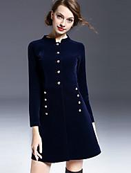 Mujer Vaina Vestido Noche Vintage,Un Color Escote Chino Sobre la rodilla Manga Larga Azul Poliéster Primavera Tiro Medio Microelástico
