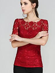 Damen Solide Anspruchsvoll Übergröße T-shirt,Rundhalsausschnitt Sommer Kurzarm Rot Polyester Undurchsichtig