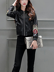 Women's  Sophisticated Fall / Winter Leather JacketsFloral Shirt Collar Long Sleeve Black PU