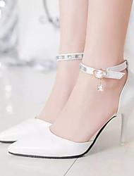 Mujer Tacones Confort PU Verano Vestido Confort Cristal Tacón Stiletto Blanco Negro Rosa 5 - 7 cms