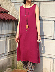 Cynthia Women's Casual/Daily Vintage Tunic DressSolid Round Neck Knee-length Sleeveless Red Linen Summer
