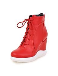 Damen-Stiefel-Lässig-PU-Keilabsatz-Modische Stiefel-Schwarz / Rot / Weiß