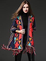 frmz femmes sortir street chic manteau ordinaire / capesgeometric longueur manches col v rouge moyen inélastique