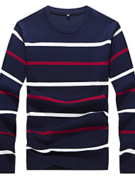 Men's Striped Casual / Work / Formal / Sport / Plus Size Pullover,Polyester Long Sleeve Blue / White / Gray