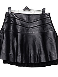 Women's Sheep Skin Leather Skirt Solid Black Skirts Sexy / Simple