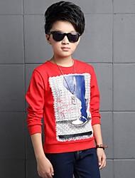 Casual/Dagelijks-Print-Katoen-Winter-Boy's-T-shirt-Rood / Grijs
