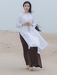 Chemise Femme,Couleur Pleine Décontracté / Quotidien Vintage Automne Manches Longues Col Arrondi Blanc Coton / Lin Fin