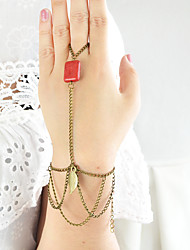 Multilayers Chain Bracelet with Finger Rings