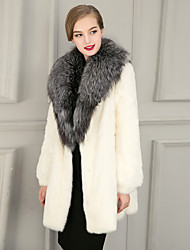 Women's Street chic Fur Coat Solid V Neck Long Sleeve Winter White / Black Luxury Faux Fur Thick