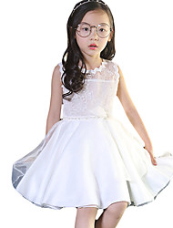 Girl's Formal Solid Dress,Others Summer White