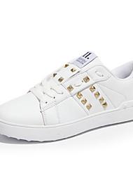 Femme-Décontracté-Noir Blanc Blanc / Vert-Talon Plat-Confort-Baskets-Cuir