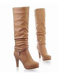Damen-Stiefel-Outddor-PU-Stöckelabsatz-Modische Stiefel-Schwarz Beige