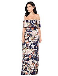 Women's Casual Party/Cocktail Vintage / Street chic Layered Backless Sheath Dress Floral Boat Neck Maxi Short Sleeve
