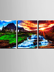 E-HOME® Stretched Canvas Art The Mountain Setting Sun is A Small Waterfall Decoration Painting  Set of 3