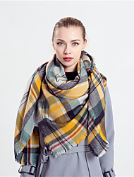 Women Vintage Casual Rectangle Yellow Plaid Classic Color Stitching Tassels Warm Cotton Fringed Shawl Scarf