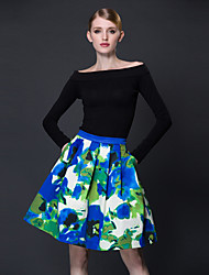 frmz Frauenfarbblock grün skirtsvintage Knielänge
