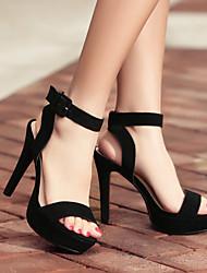 Damen Sandalen Leder Sommer Normal Stöckelabsatz Schwarz 10 - 12 cm