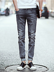 Men's Solid Casual JeansCotton Gray