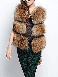 Women's Casual/Daily Simple Fur CoatSolid Round Neck Sleeveless Fall Brown Raccoon Fur Medium
