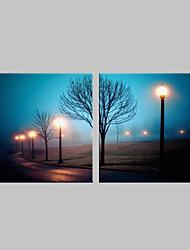 E-HOME® Stretched LED Canvas Print Art Street Lamp Flash Effect LED Flashing Optical Fiber Print Set of 2
