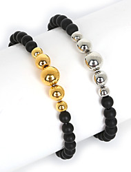 Beadia 1Pc 6mm Black Glass Beads & 6/8/10mm Metallic Color CCB Plastic Beads Strand Bracelet(19cm)
