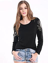 Damen Solide Einfach Ausgehen / Lässig/Alltäglich T-shirt,Rundhalsausschnitt Herbst / Winter Langarm Schwarz Baumwolle / Polyester Mittel