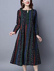 Mujer Corte Ancho Vestido Casual/Diario Vintage,Estampado Escote en Pico Midi Manga Larga Azul / Rojo Algodón / Lino Primavera / Otoño