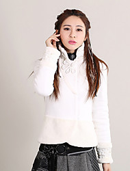 Our Story Women's Going out Vintage JacketsEmbroidered Stand Long Sleeve Winter White Cotton / Spandex Thick