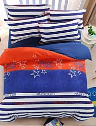 Bedtoppings Comforter Duvet Quilt Cover 4pcs Set Queen Size Flat Sheet Pillowcase Stripe Star Blue Pattern Prints Microfiber