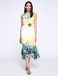 Women's Beach Boho A Line / Loose Dress,Floral Round Neck Maxi Sleeveless Blue / Red / Green Polyester Summer
