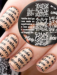 nouveau-né joli bp76 thème alphabet ongle art modèle de marquage d'image plaque