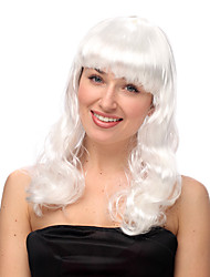 White Long Curly Halloween Wigs Synthetic Wigs Costume Wigs
