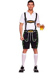 Costumes de Cosplay / Costume de Soirée Fête d'Octobre/Bière / Serveur Déguisement Halloween Blanc / Noir / Vert / Orange MosaïqueHaut /
