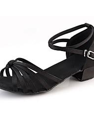 Women's Dance Shoes Suede Suede Latin Heels Chunky Heel Outdoor Black Silver Gold