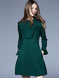 Boutique S Women's Formal Simple Sheath DressSolid Crew Neck Above Knee Long Sleeve Green Cotton / Polyester Spring