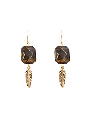 Fashion Women Tiger Eye Stone Metal Feather Drop Earrings