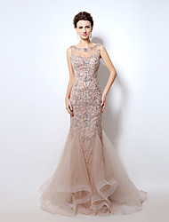 Formal Evening Dress Trumpet / Mermaid Bateau Floor-length Tulle with Beading