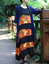 Cynthia Women's Casual/Daily Chinoiserie Tunic DressFloral Round Neck Midi Sleeveless Black Cotton