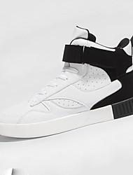 Masculino-Tênis-Conforto-Rasteiro-Branco / Preto e Vermelho / Preto e Branco-Couro Ecológico-Casual