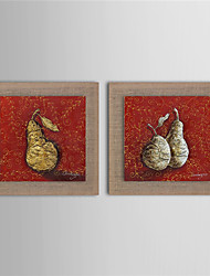 Modern Wall Art Pictures Abstract Fruit Golden Pear Oil Painting Hand-Painted On Linen Home Decoration With Frame