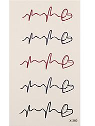 1 Tatouages Autocollants Autres cardiogram flash Tattoo Tatouages temporaires