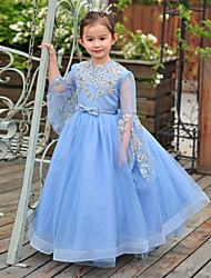 Ball Gown Floor-length Flower Girl Dress - Tulle Charmeuse Jewel with Bow(s) Lace Sequins