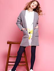 Mujer Largo Cardigan Noche Simple,Un Color Gris Escote en Pico Manga Larga Poliéster Invierno Medio