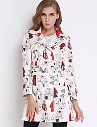 / Médio de algodão kenaya mulheres casual / diária bonito trincheira coatprint colarinho da camisa de manga longa queda de inverno branco