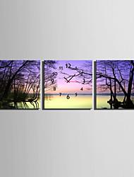 Cuadrado Moderno/Contemporáneo Reloj de pared , Otros Lienzo40 x 40cm(16inchx16inch)x3pcs/ 50 x 50cm(20inchx20inch)x3pcs/ 60 x