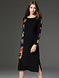 CELINEIA Women's Work Simple Sheath DressGeometric Round Neck Knee-length Long Sleeve Black