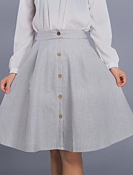 Damen Röcke - Einfach Knielang Leinen Unelastisch
