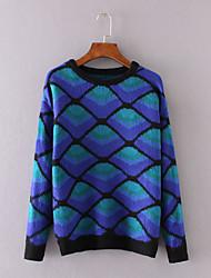 Damen Kurz Pullover-Lässig/Alltäglich Niedlich Geometrisch Blau Rundhalsausschnitt Langarm Baumwolle Winter Mittel Mikro-elastisch